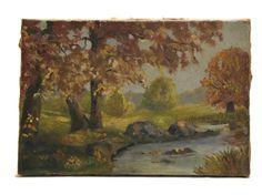Peinture à l'automne. Antique paysage avec rivière. Original