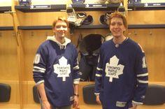James and Oliver Phelps<3  Hockey jerseys... nuff said (: