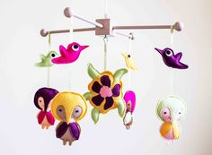 Hummingbird Girl Mobile / Cot mobile / Nursery mobile / Felt Mobile / baby girl mobile / crib mobile / Baby gifts / hanging mobile / flower by MorrowlandCreations on Etsy