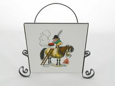 Thelwell Napkin/Letter Holder Girl Brushing Horse by my3luvbugs $24.95 #Etsy #Vintage