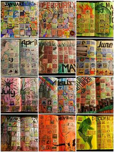 LOTS of great calendar journaling ideas! An interesting idea for art in a pre-k room or for an individual child elementary through HS