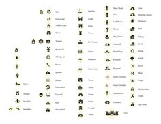 Fantasy Map Icons symbols map cartography | Create your own roleplaying game material w/ RPG Bard: www.rpgbard.com | Writing inspiration for Dungeons and Dragons DND D&D Pathfinder PFRPG Warhammer 40k Star Wars Shadowrun Call of Cthulhu Lord of the Rings LoTR + d20 fantasy science fiction scifi horror design | Not Trusty Sword art: click artwork for source