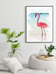 Stay on trend and under budget with this digital watercolor flamingo painting printable! Flamingo Painting, Watercolor Painting, Watercolor Flowers, Watercolors, Decoration, Art Decor, Home Decor Inspiration, Decor Ideas, Tropical Art