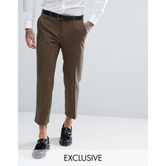 Heart & Dagger Straight Leg Cropped Pant In Tweed ($79) ❤ liked on Polyvore featuring men's fashion, men's clothing, men's pants, men's dress pants, brown, mens cropped pants, mens brown pants, mens brown dress pants, mens zipper pants and mens zip off pants