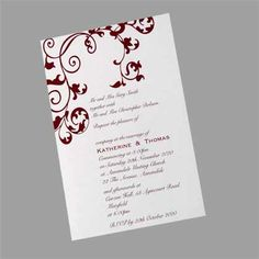 Scroll Upright Wedding Invitation - Upright postcard wedding invitation available in a variety of colours. www.kardella.com