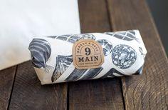 Nine Main Bakery & Deli - Alice Pattullo Illustration Bakery Branding, Bakery Packaging, Food Branding, Food Packaging Design, Corporate Branding, Packaging Ideas, Sandwich Packaging, Bread Packaging, Takeaway Packaging