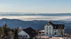 Am Dreikönigstag gings kurz nach Sonnenaufgang auf den Hochblauen: Sonnenschein und Alpensicht genießen! Das Berghaus Hochblauen verfällt leider zusehends - ein Trauerspiel.