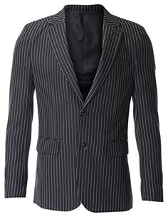 FLATSEVEN Men's Slim Fit Two Button Single Breasted Vertical Striped Blazer Jacket (BJ472) Black, #FLATSEVEN #Men #Clothing #Fashion #Jacket #blazer #trends #hot
