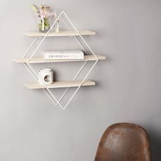 Living Co Wall Shelf Diamond Wire Wood 3 Tier White 56x14x60cm White Shelves Wall Shelves Wood