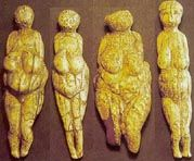 Four small venuses about 15 cm high from the open air Avdeevo site in Russia, dating to 20 000 years BP Avdeevo - a Paleolithic site with strong links to Kostenki
