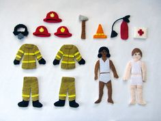 This fire station project will be a full stand-alone quiet book, just like the dollhouse book, but using full size 9″ x 12″ sheets of felt for each page. The fire fighters are made from the same pa…