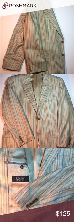 S. Cohen Pure Silk Blazer 100% pure silk blazer by S. Cohen. Compare to new Blazers priced from $480 - and above. This is a classic look and you get it for a fraction of retail. Double vent double button blazer. Subtle earth tone and baby blue stripes. Literally, you can pair this blazer with every type of pant/slacks. No outward signs of wear, just ready for you to get into. S. Cohen Suits & Blazers Sport Coats & Blazers