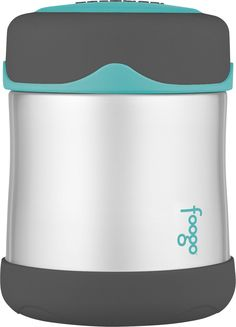 Amazon.com: Thermos FOOGO Stainless Steel Food Jar, Charcoal/Teal, 10 Ounce: Baby