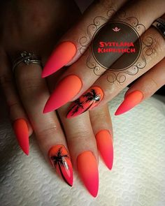 Make an original manicure for Valentine's Day - My Nails Summer Acrylic Nails, Best Acrylic Nails, Matte Nails, My Nails, Long Nails, Sunset Nails, Beach Nails, Hawaii Nails, Hawaii Hawaii