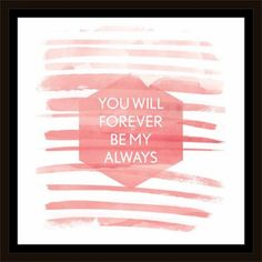 Forever My Always Wedding Watercolor Contemporary Trendy Modern Inspirational Hexagon Painting Pink & White, Framed Canvas Art by Pied Piper Creative, Brown