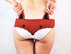 Panties with a fox face and ears lingerie par knickerocker sur Etsy, $39.00