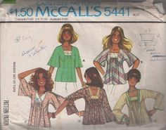 MOMSPatterns Vintage Sewing Patterns - McCall's 5441 Vintage 70's Sewing Pattern SUPER GROOVY Hippie Bohemian Inset Lace Yoke Shirred Front Flutter or Bell Sleeve Smock Top, Tent Blouse