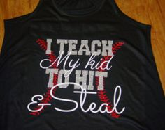 I Teach My Kid to Hit and Steal  Baseball Tank  Navy