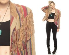 SUEDE FRINGE Jacket WOOL Blanket Coat Striped 80s by ShopExile, $129.00