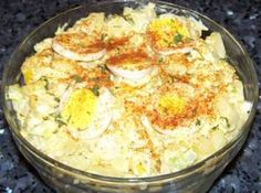 Grandma's Old Fashion Potato Salad   Ingredients  6 large potatoes, peeled and cubed 2 ribs celery, chopped 1/2 large onion, chopped 4 hard-boiled eggs, 4 chopped and 1 sliced 2 heaping tablespoons sweet pickle relish, drained 1/2 cup salad dressing, (recommended: Miracle Whip) 3 tablespoons yellow mustard 1 tablespoon sugar Paprika, for garnish Salt