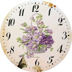 "Photo from album ""Циферблаты"" on Yandex. Vintage Diy, Decoupage Vintage, Decoupage Paper, Clock Craft, Diy Clock, Vintage Artwork, Vintage Walls, Clock Face Printable, Miniature Fairy Gardens"