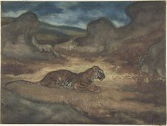 Antoine-Louis Barye (French, 1796–1875). Tiger in Landscape, 1810-1875. The Metropolitan Museum of Art, New York. H. O. Havemeyer Collection, Bequest of Mrs. H. O. Havemeyer, 1929 (29.100.589) #cats