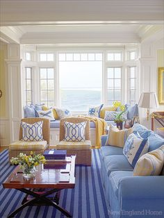 3 Honest Tricks: Coastal Cottage The View california coastal living room.Coastal Cottage The View coastal landscaping curb appeal.Coastal Home Blue. Decor, Interior, Home, Coastal Living Room, Coastal Living Rooms, Coastal Design, New England Homes, Home And Living, House And Home Magazine