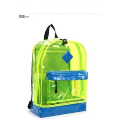 Panel Clear Neon Backpack ($31) ❤ liked on Polyvore featuring bags, backpacks, backpack, neon bag, clear pvc backpack, neon green bag, knapsack bags and clear backpack