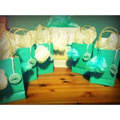"""Thank you for showering me with love"" gift bags for my bridesmaids with body wash from Victoria Secret, bath sea salts and Tiffany blue nail polish"