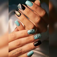 Robin Egg Blue with Sparkle & Brown Baroque Nails