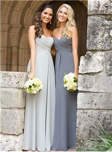 Attractive Ruched A Line Sweetheart Neckline Floor Length Latest Bridesmaid Dresses