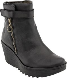 Womens Fly London Jome Work Fashion Black Wedge Heel Leather Ankle Boots