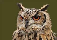 art ai illust illustration illustrator cs5 polygon polygonart lowpoly artwork owl