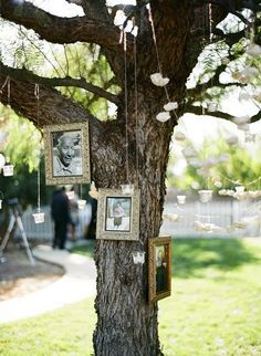 """Love this idea to memorialize deceased loved ones at a wedding. Would be fun to decorate a """"family tree"""" with living relatives at the wedding, too! Oh, oh, would be beautiful at a baby shower garden party, too!"""