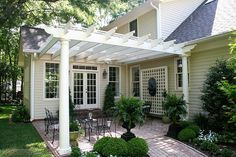 The pergola kits are the easiest and quickest way to build a garden pergola. There are lots of do it yourself pergola kits available to you so that anyone could easily put them together to construct a new structure at their backyard. Wooden Pergola, Pergola Patio, Backyard Patio, Backyard Landscaping, White Pergola, Small Pergola, Cheap Pergola, Small Patio, Front Porch Pergola
