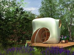Organic garden structure made out of curved timber.