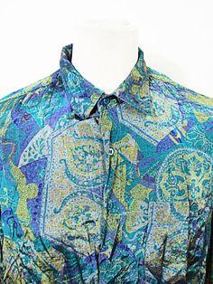 Vintage 1990s Psychedelic Pattern Crazy Pattern Festival Mod Shirt XL