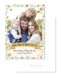 Mint and Gold Polka Dots Christmas Photo / Picture Holiday Card - FREE SHIPPING