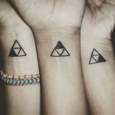 Side by side or miles apart, sisters will always be connected by the heart #sistertattoo #electriceyetattoos #triforce
