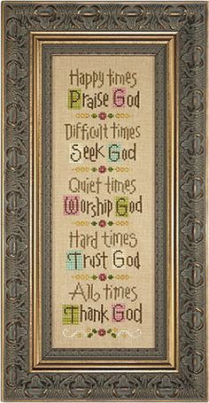 Lizzie Kate  Time For God  Counted Cross Stitch by DebiCreations, $8.99