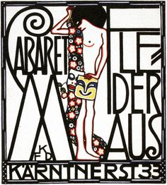 ¤ Cabaret Fledermaus, Vienna,  Austria, poster by Franz Karl Delavilla. 1907-1908. Wiener Werkstatte. More on my WW boards.