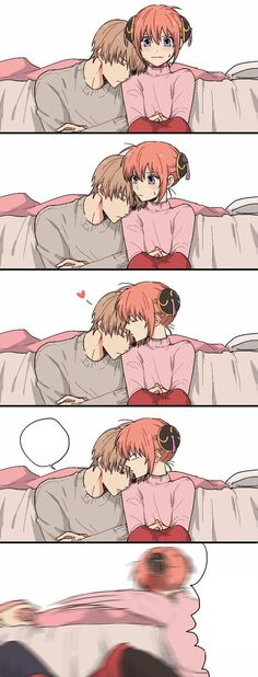 Anime: Gintama Personagens: Okita Sougo e Kagura Funny Anime Couples, Anime Couples Manga, Manga Anime, Manga Couple, Anime Love Couple, Anime Comics, Okikagu Doujinshi, Gintama, 4 Panel Life