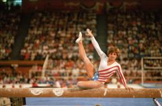 1984 Summer Olympics USA Mary Lou Retton in action on balance beam during Women's AllAround Team competition at Pauley Pavilion Los Angeles CA...