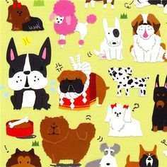cute small stickers with different dogs Japan  with poodle, pug, spitz, dachshund, mastiff, Saint Bernard, dalmatian and more