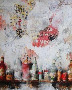 """Jordi Prat Pons estudió Bellas Artes en la Universidad de Barcelona. Su gran dominio de la técnica del """"collage"""" .En sus cuadros usa múltiples materiales para conseguir composiciones originales llenas de textura y colorido."""