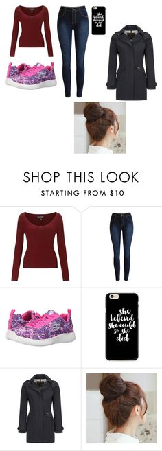 """rainy day"" by emma-387 ❤ liked on Polyvore featuring Miss Selfridge, Skechers, Woolrich John Rich & Bros and Pin Show"