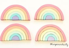 Pastel unicorn wooden rainbow stacker hand painted montessori puzzle solid wood toy nursery decor photo prop by harperandsully on Etsy https://www.etsy.com/listing/475488763/pastel-unicorn-wooden-rainbow-stacker