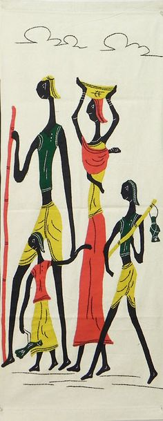 Happy Family - (Wall Hanging) (Applique Work on  Cotton Cloth))