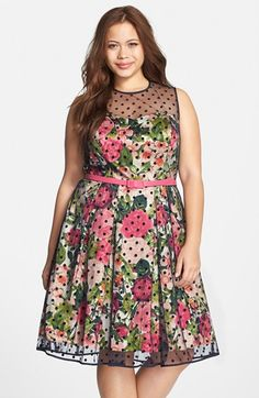 Eliza+J+Floral+Print+Party+Dress+with+Flocked+Dot+Overlay+(Plus+Size)+available+at+#Nordstrom