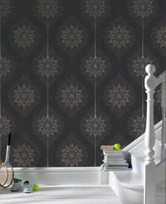 30-415 Kelly Hoppen Tattoo: Charcoal & Gold wallpaper Graphite,Gold,Black Damask Wallpaper